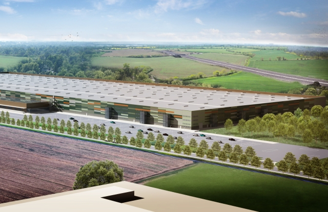 A rendering of Amazon new logistic center in Italy