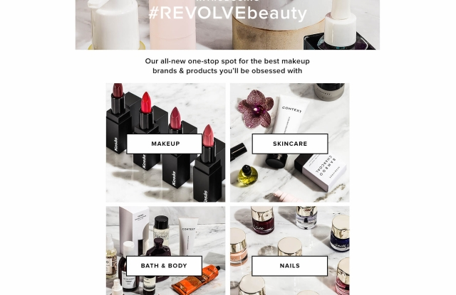 Revolve's dedicated beauty section, #RevolveBeauty.