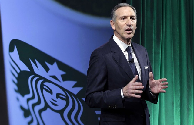 Starbucks ceo Howard Schultz speaking to investors in New York Wednesday.