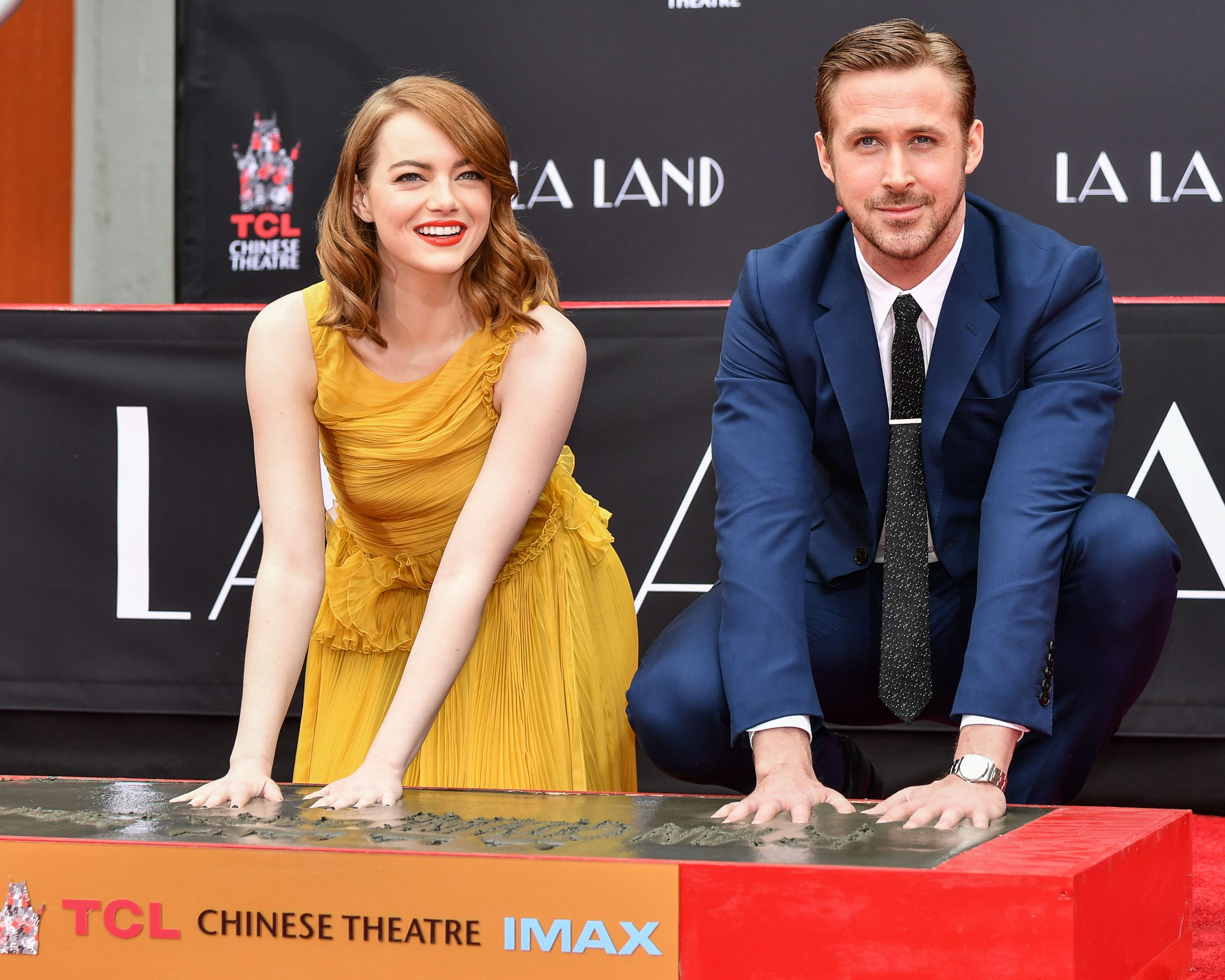 Emma Stone Ryan Gosling La La Land hand and footprint ceremony
