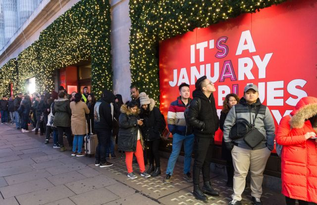 Shoppers queueing outside Selfridges