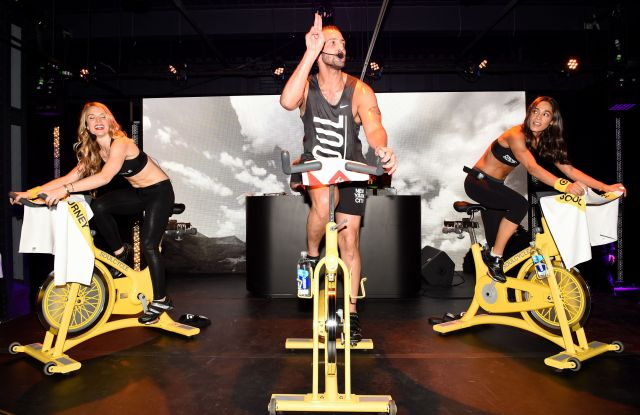 A Soulcycle fitness class in session.