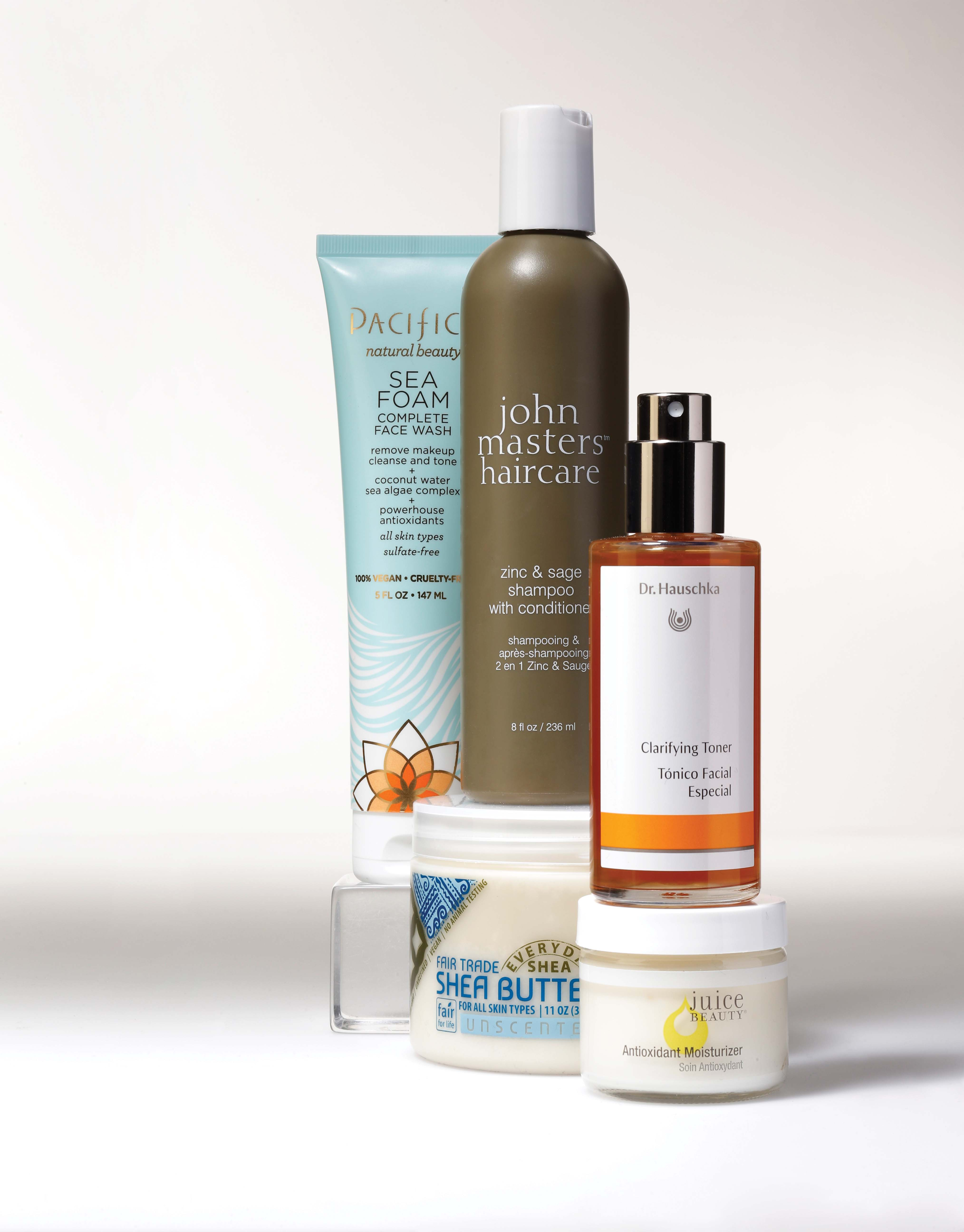 Pacifica Natural Beauty Sea Foam Complete Face Wash, ohn Masters Hair Care Zinc & Sage Shampoo With Conditioner, Dr. Hauschka Clarifying Toner, Everyday Shea Fair Trade Shea Butter- Unscented, Juice Beauty Antioxidant Moisturizer.