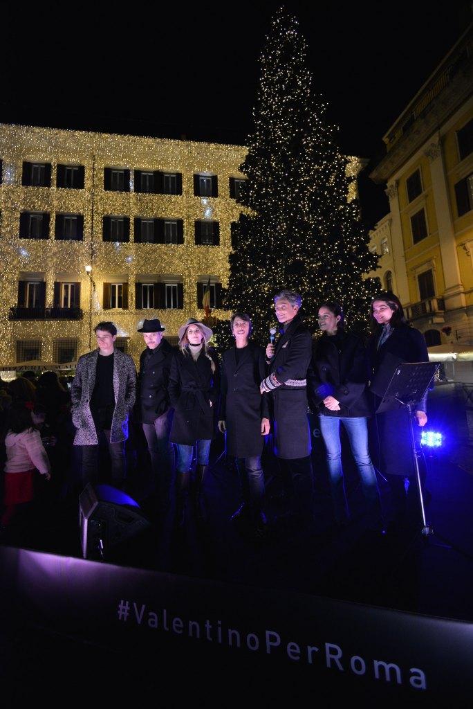 Valentino Christmas Tree Lighting – Creative Director Pierpaolo Piccioli surrounded by Italian actors.