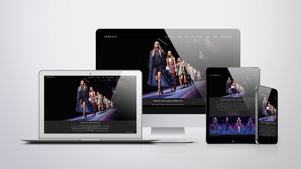 Versace's renovated web site.