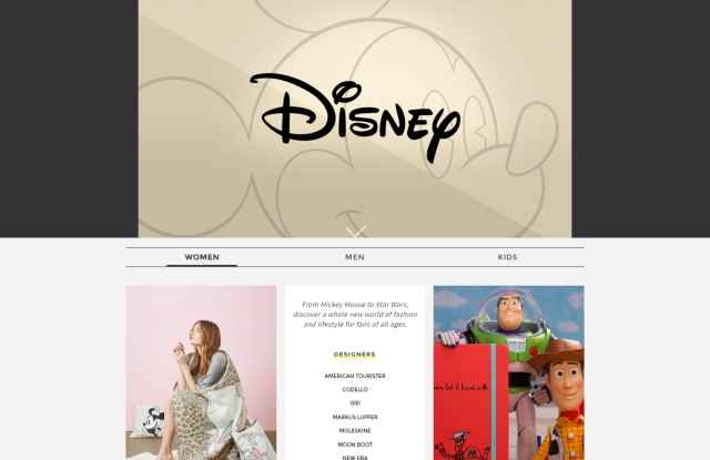 A screenshot of the Yoox Disney store on Yoox.com