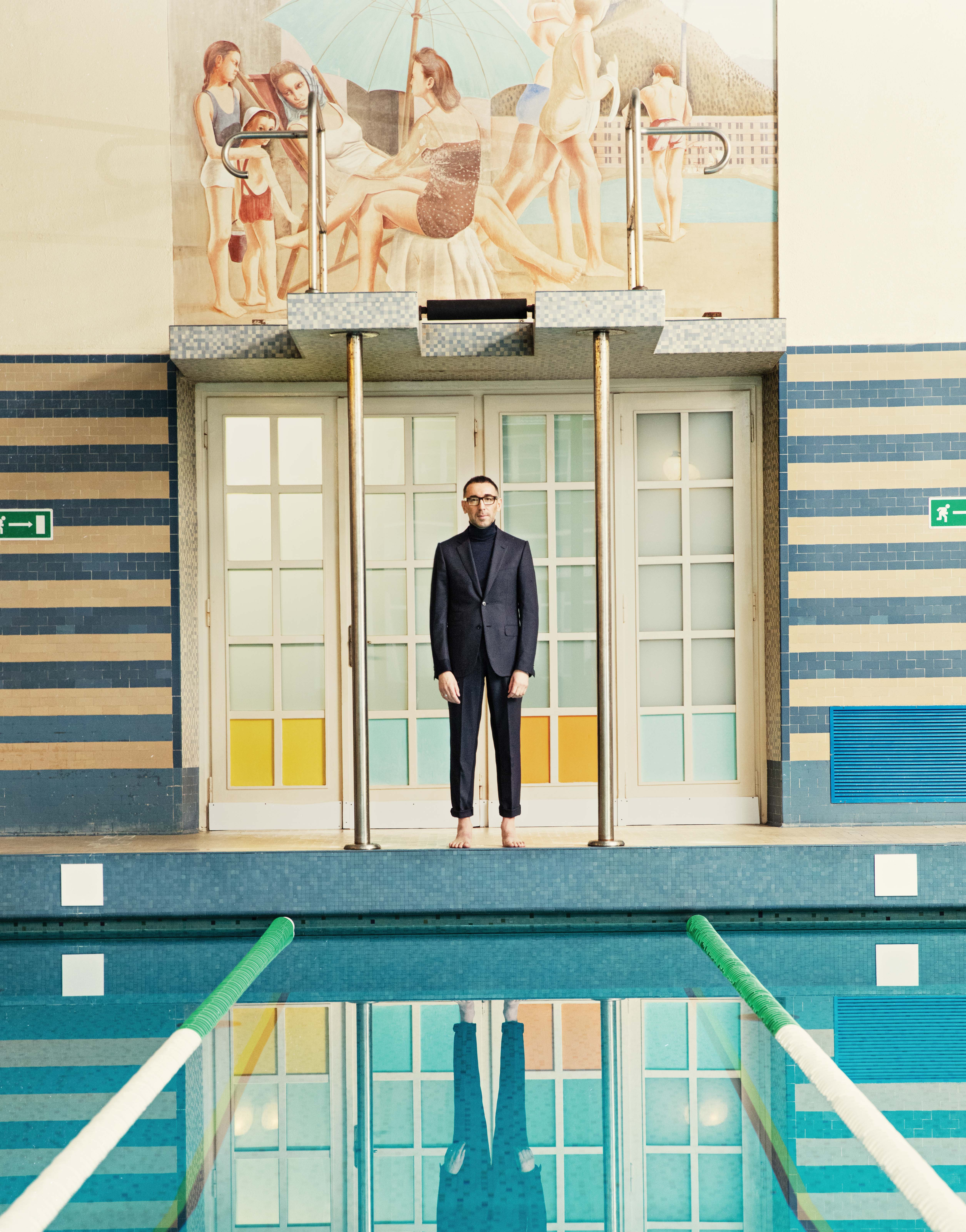 alessandro Sartori photographed at the indoor swimming pool built in the late Thirties as part of the philanthropic vision of Ermenegildo Zegna, who, besides striving to produce impeccable fabrics, strove to better the quality of life of the community of Trivero. It's the pool where alessandro learned to swim at age four.