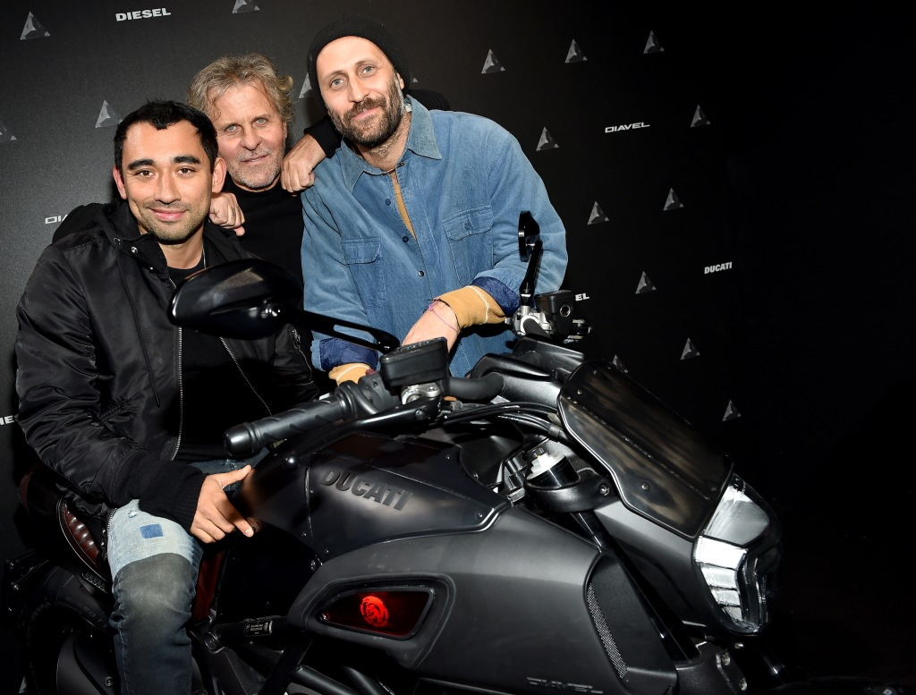 Nicola Formichetti, Renzo Rosso and Andrea Rosso with the new Ducati Diavel Diesel.