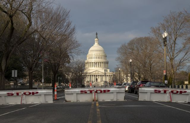 Security barriers are in place for the U.S. presidential inauguration on Jan. 20.
