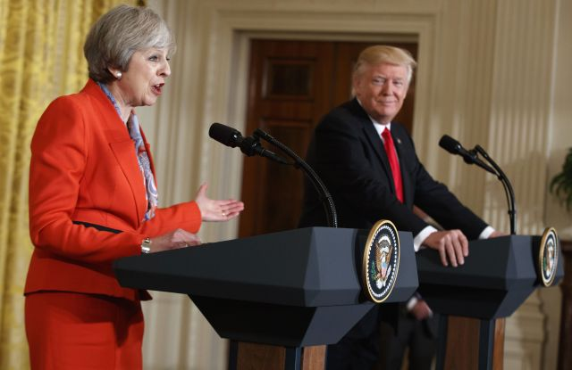 President Trump and Prime Minister Theresa May hold news conference at White House on Friday.