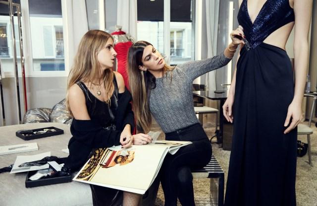 Eugenie Niarchos and Bianca Brandolini in the Azzaro atelier