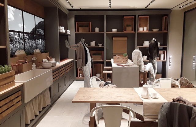 The kitchen at the entrance of the Brunello Cucinelli flagship