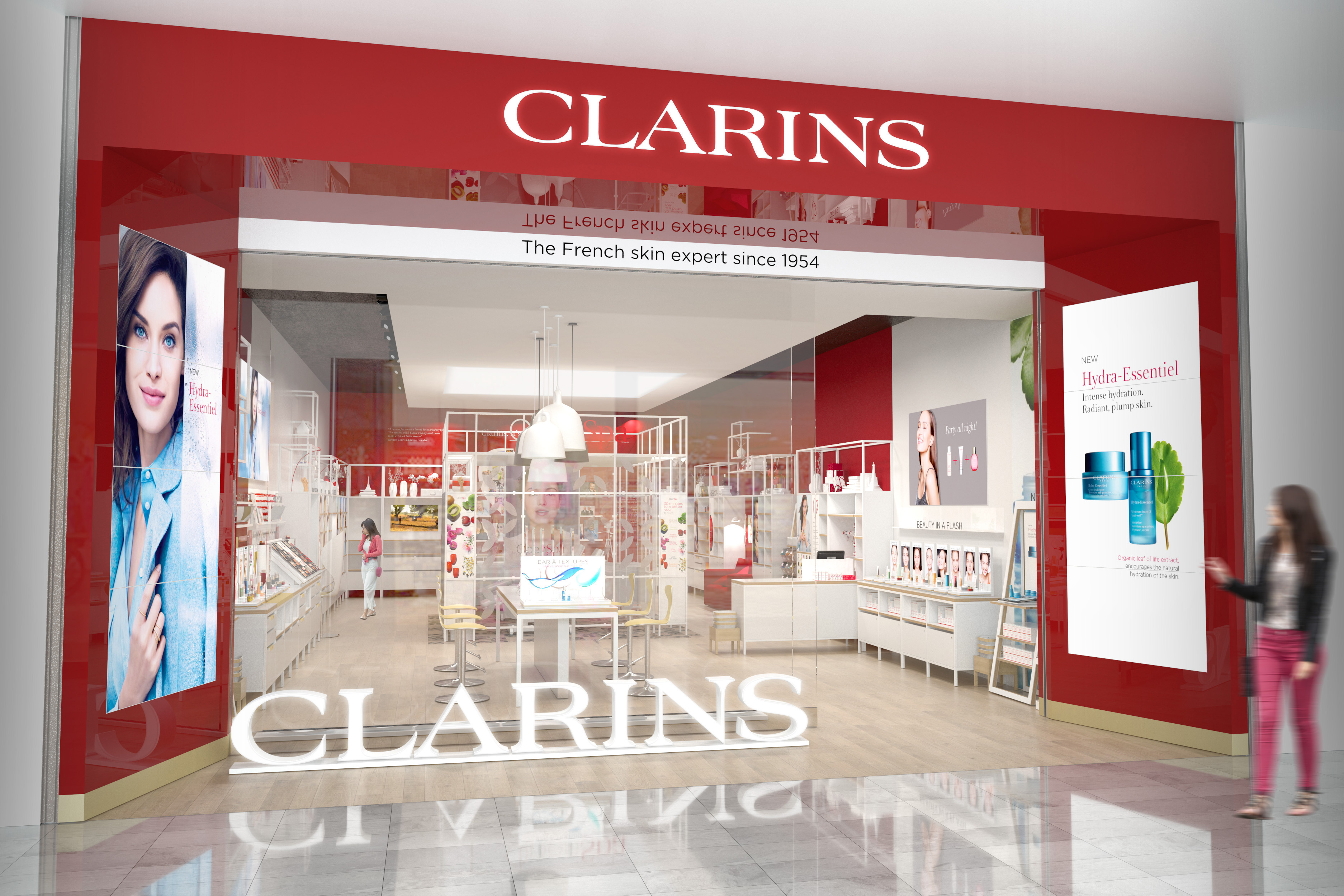 A rendering of the Clarins store.