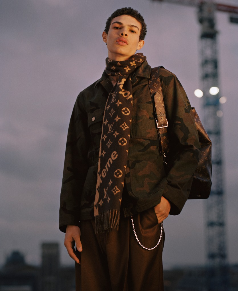 A look from the Louis Vuitton and Supreme collaboration.
