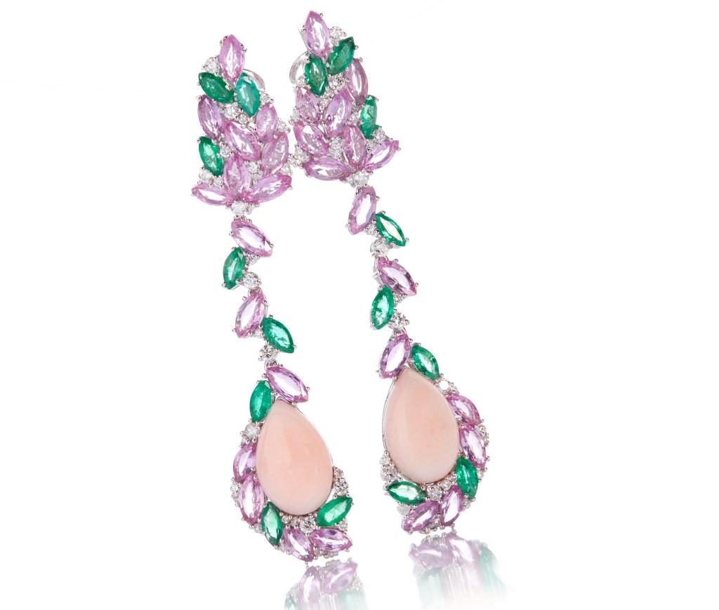 De Simone coral, pink sapphire, emerald and diamond earrings