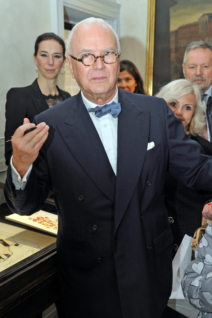 Manolo Blahnik attending the exhibition on his name in Milan.