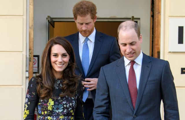 The Duchess of Cambridge (in Erdem), Prince Harry and the Duke of Cambridge