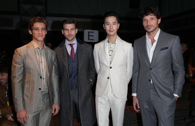 Brenton Thwaites, Johannes Huebl, Sphinx Ting and Andres Velencoso ferragamo front row