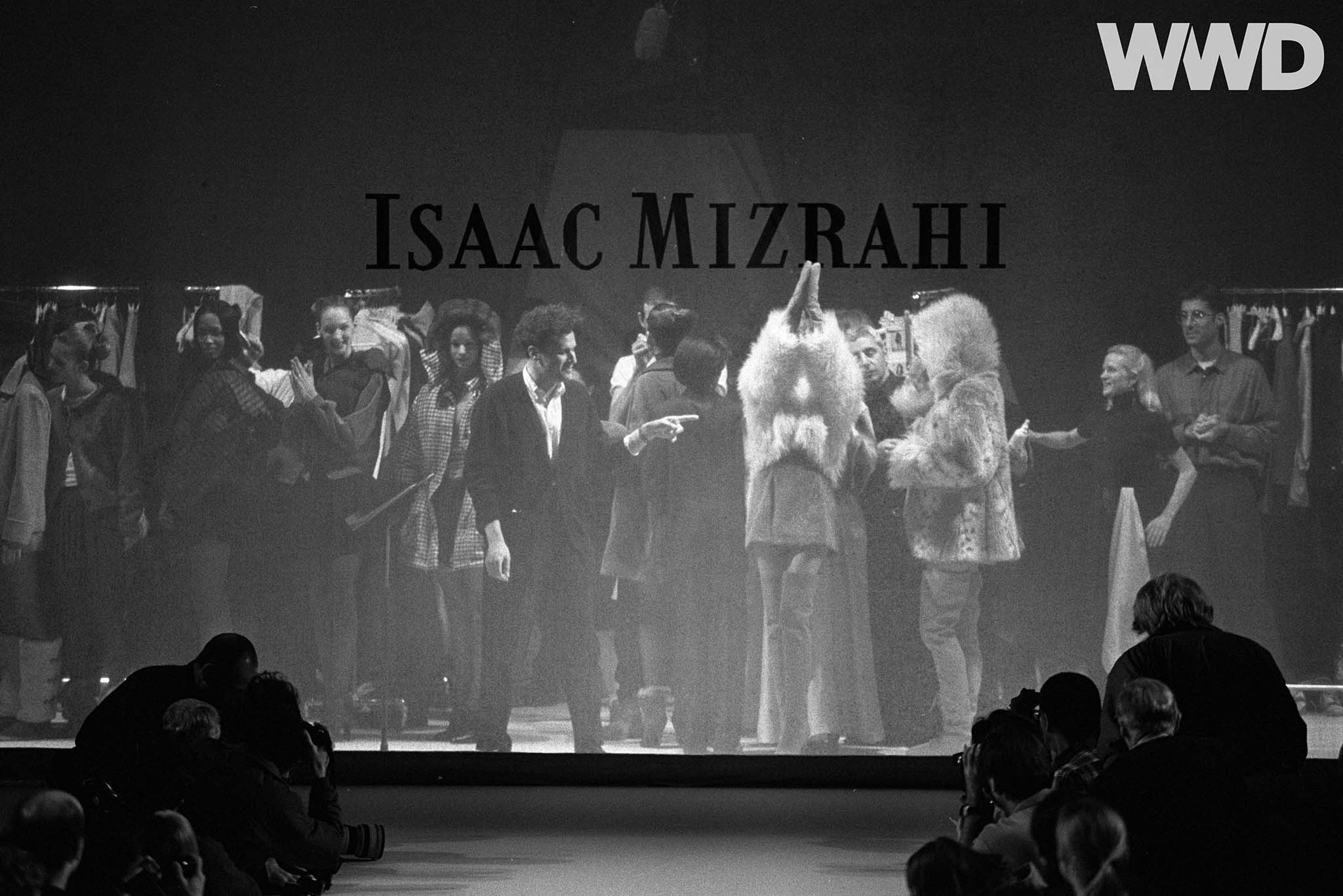 "Isaac Mizrahi on stage during his fall 1994 ready-to-wear collection, later featured in the 1995 Douglas Keeve directed documentary ""Unzipped"""