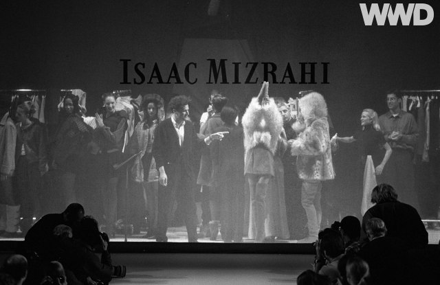 """Isaac Mizrahi on stage during his fall 1994 ready-to-wear collection, later featured in the 1995 Douglas Keeve directed documentary """"Unzipped"""""""