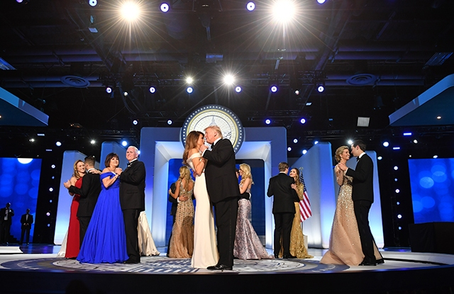 President Donald Trump and First Lady Melania Trump dance along with family members and Vice President Mike Pence and his wife Karen Pence Inaugural Ball Fashion Gallery