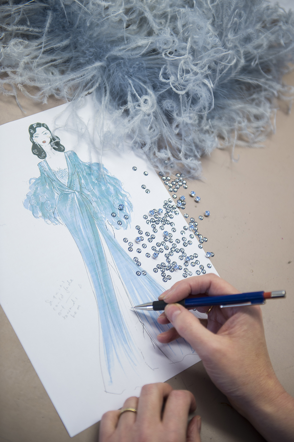 Jenny Packham sketch of Dita von Teese costume