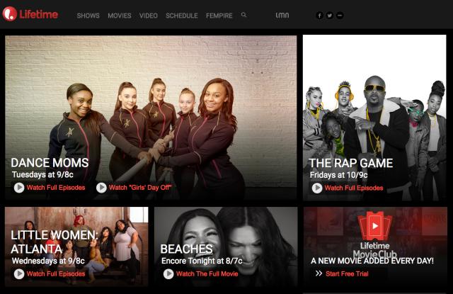 Screen shot of Lifetime's site, mylifetime.com.