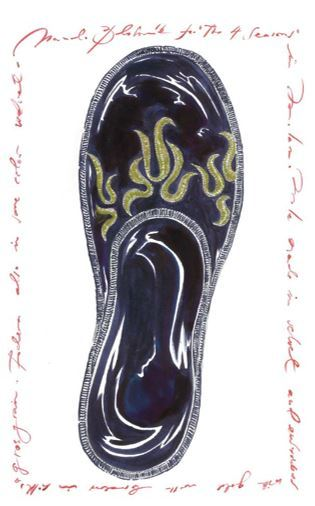 A sketch of Manolo Blahnik's slippers designed for the Four Seasons Hotel in Milan.