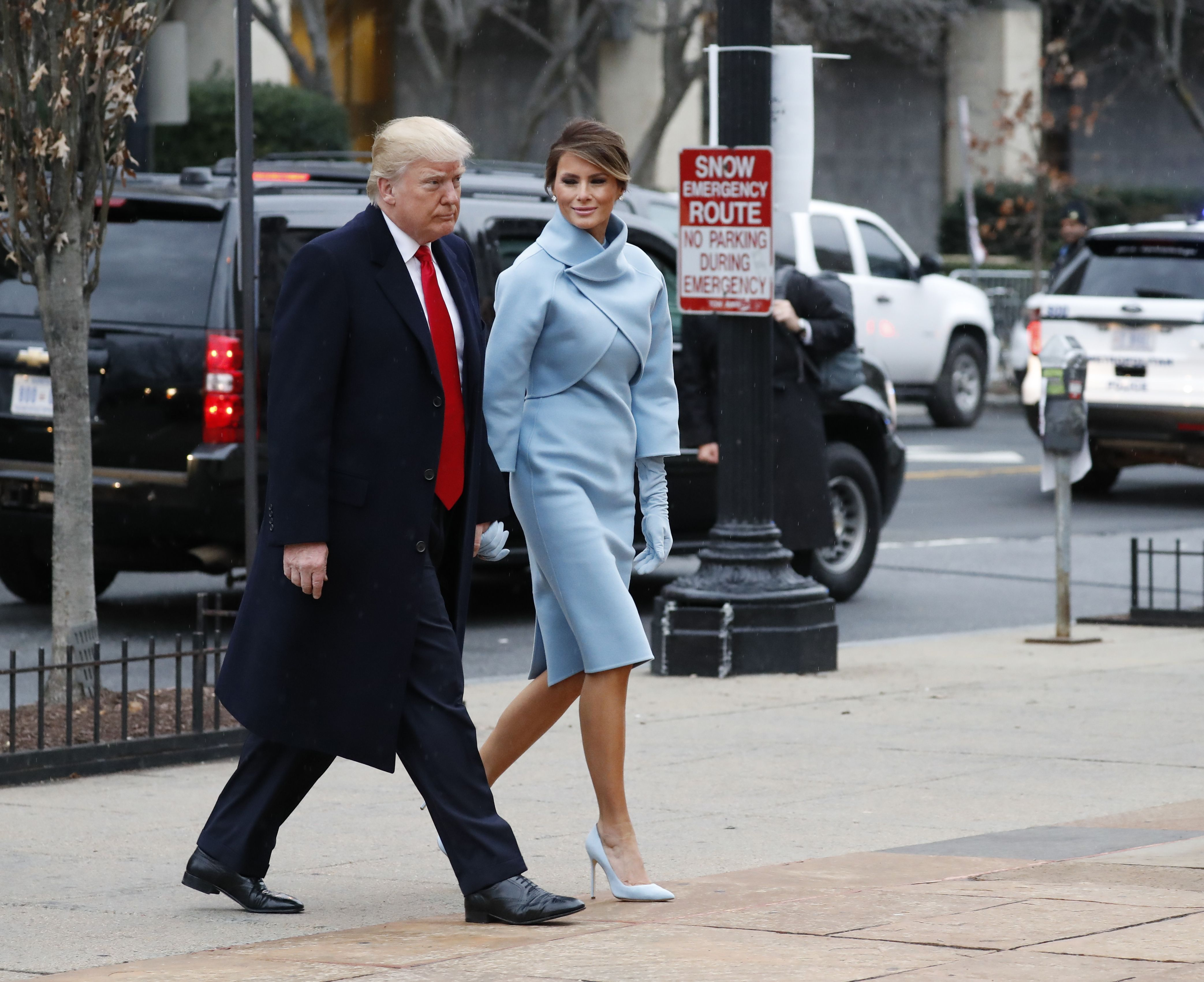 Melania Trump wearing Ralph Lauren for the Inauguration Day