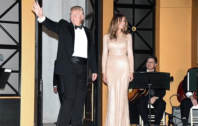 Donald Trump and Melania Trump in Reem Acra