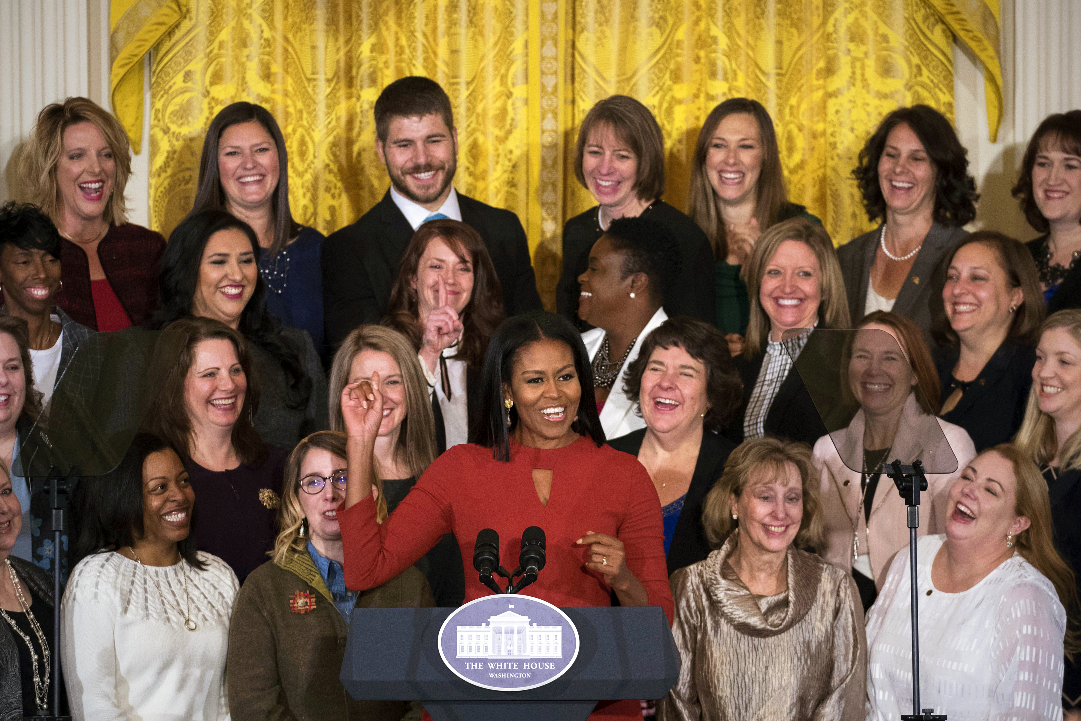 Michelle Obama in Narciso Rodriguez for her last official event as First Lady.