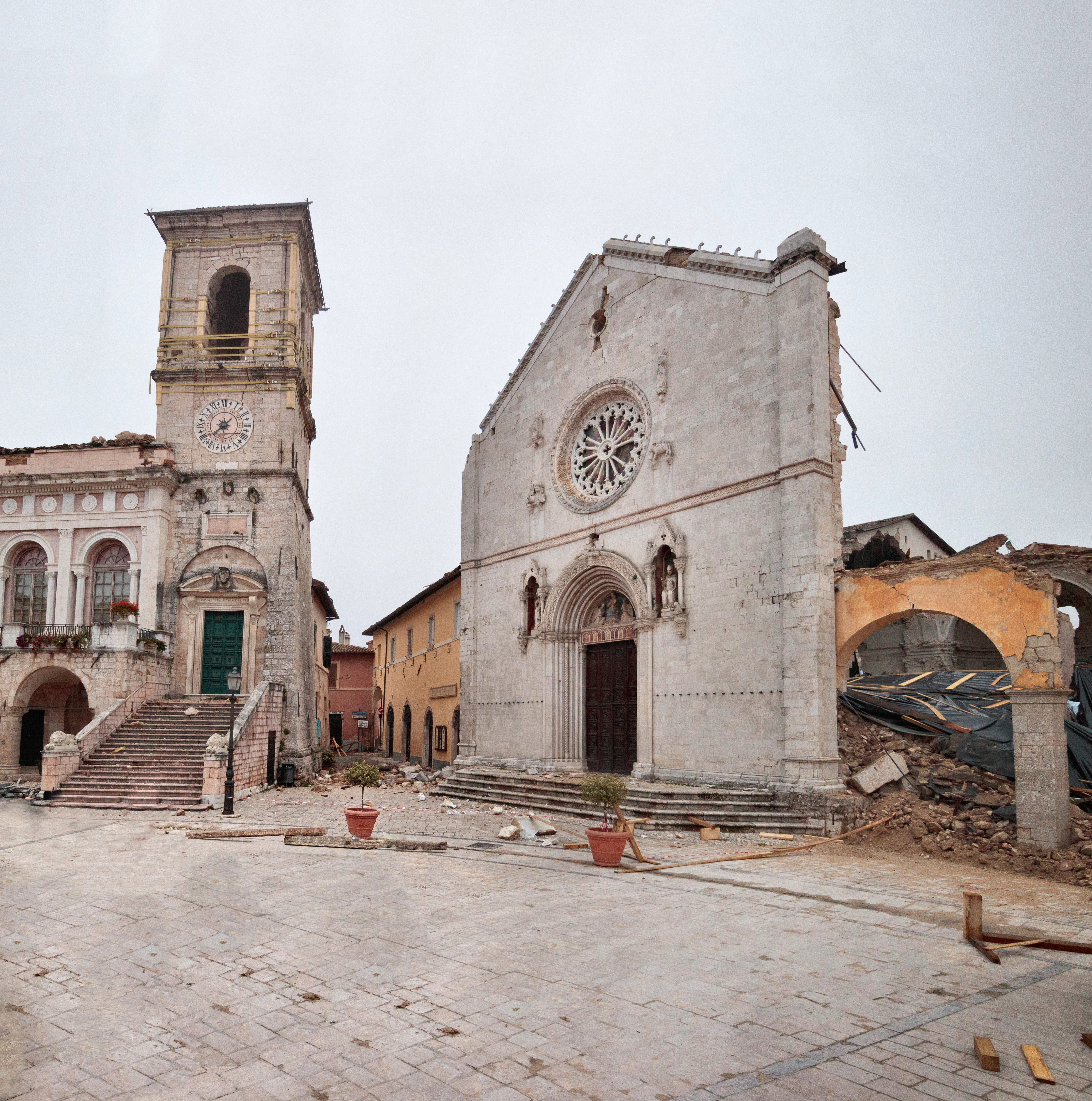 Norcia's central square after the earthquake.