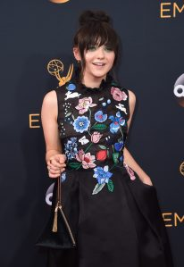 Actress Maisie Williams holding a Charles & Keith bag at the Emmy Awards last September.