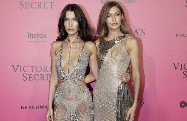 Bella Hadid and Gigi Hadid at the 2016 Victoria's Secret Fashion Show.