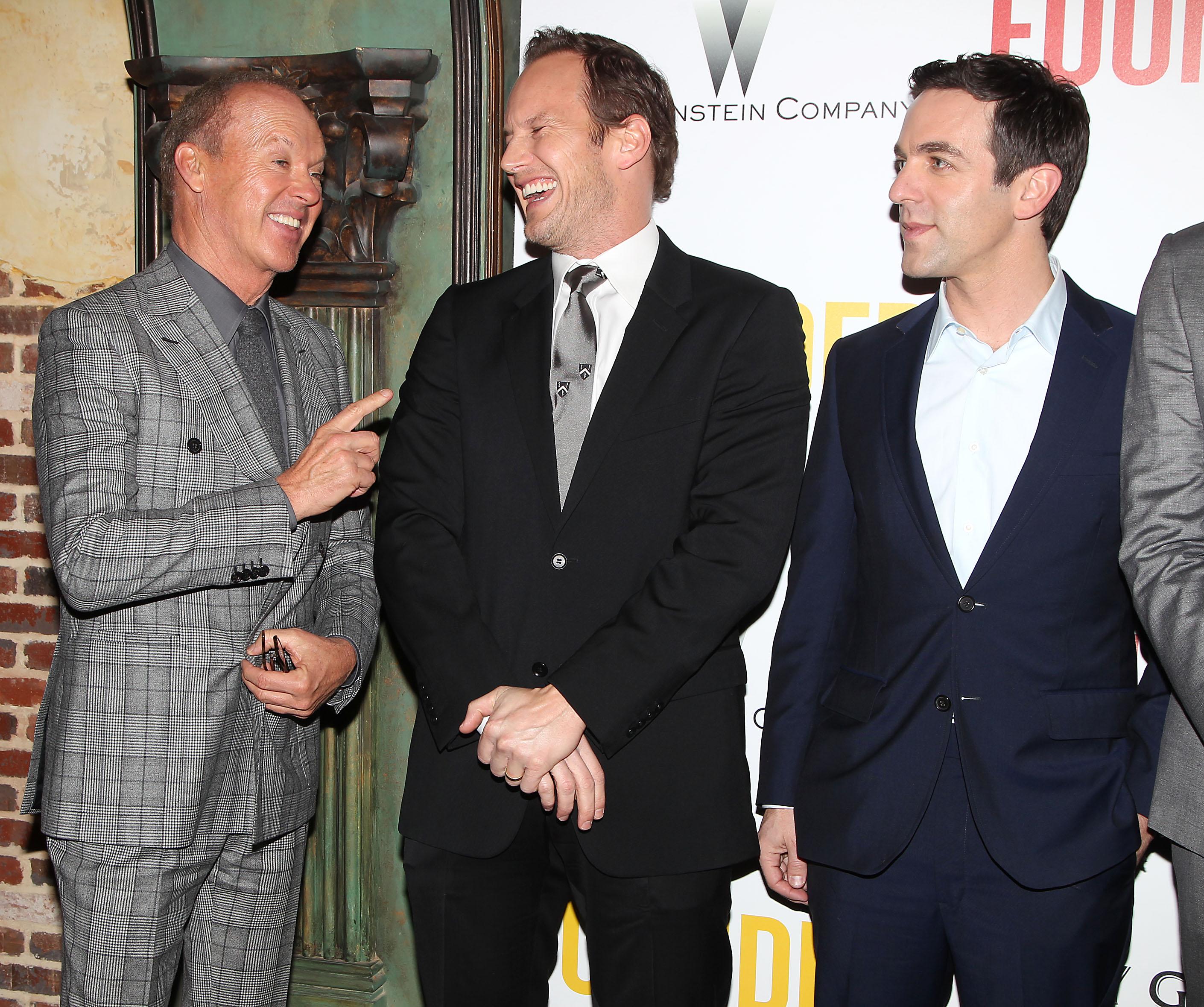 Michael Keaton, Patrick Wilson, and BJ Novak.