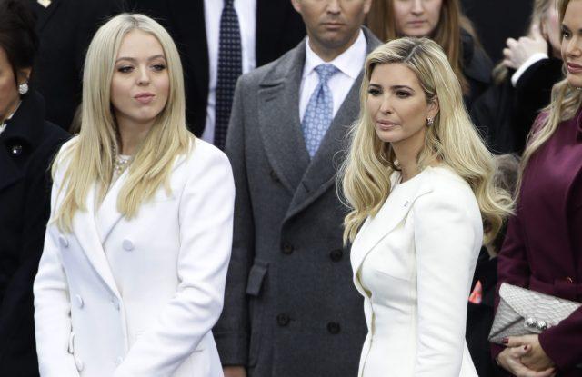 Tiffany Trump (left) in Taoray Wang, next to her sister Ivanka Trump (right).