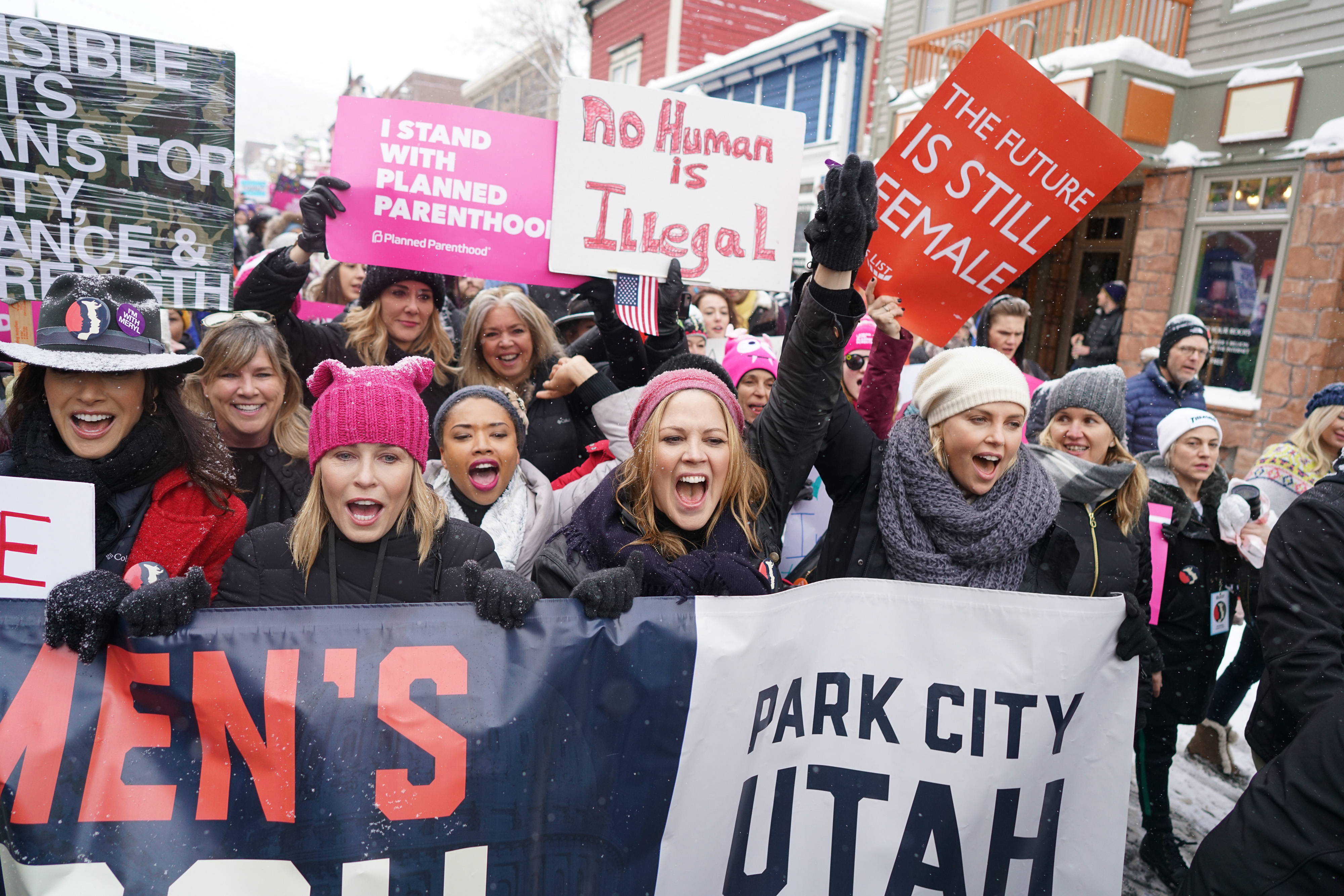 Jennifer Beals, Chelsea Handler, Mary McCormack and Charlize Theron at the Women's March Sundance Film Festival