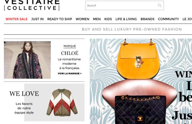 Vestiaire Collective's homepage