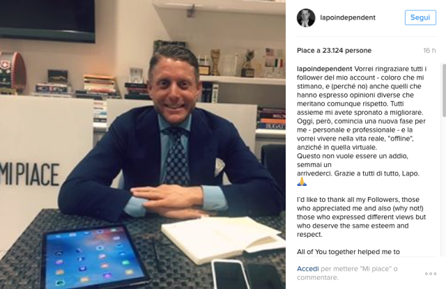 Lapo Elkann's Instagram announcement