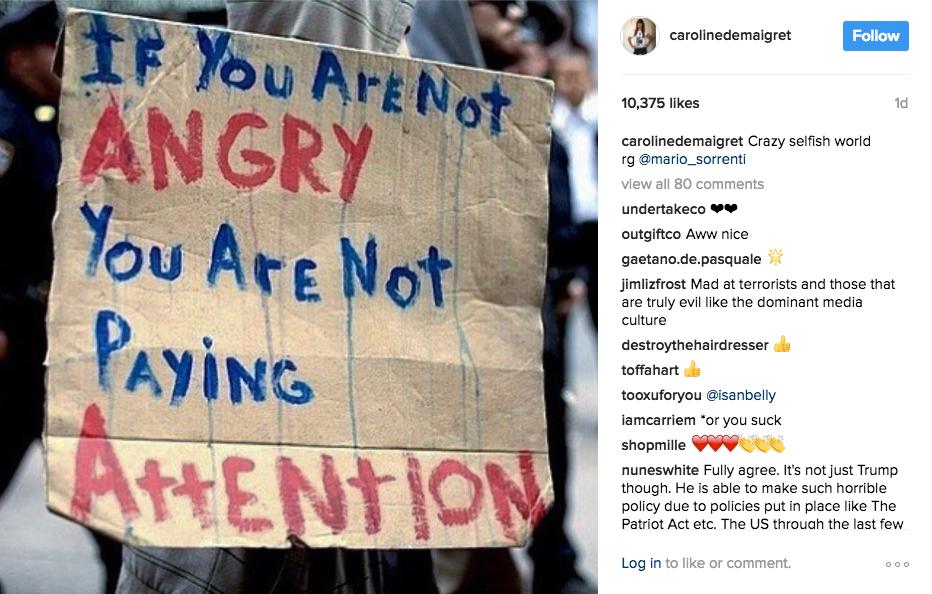 Caroline de Maigret's Instagram immigration protest