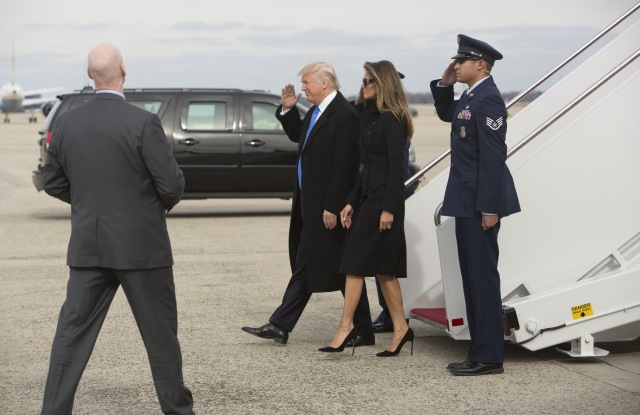 Donald Trump arrives at Andrews Air Force Base, USA - 19 Jan 2017