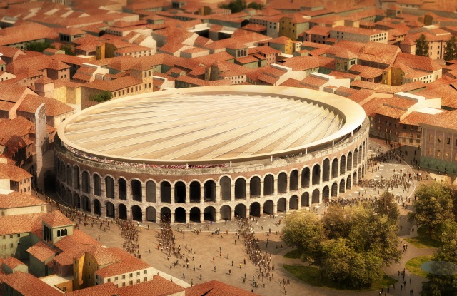SBP & GMP's rendering for the movable covering of Verona's Arena.