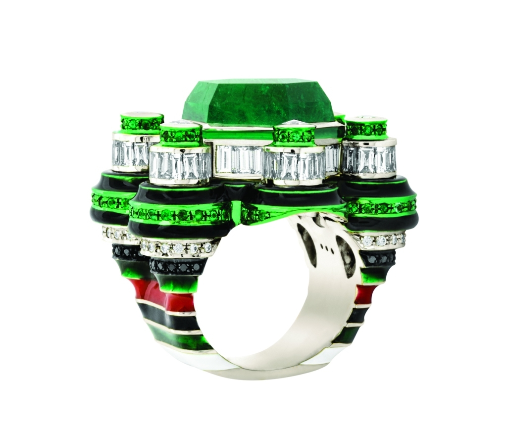 """""""Space Station"""" ring in 18-carat white gold, an 14.8-carat emerald, ceramic plate, lacquer and a mix of diamonds and emeralds by Solange Azagury-Partridge."""