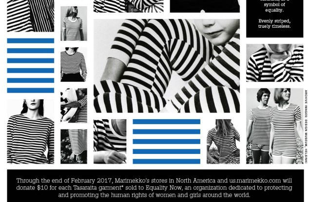 Marimekko will donate a percentage of sales from Tasaraita items sold through the end of February to Equality Now.