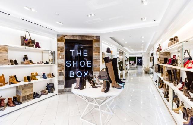 Inside a Shoe Box store.