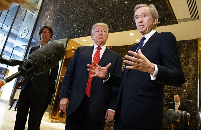 Donald Trump and Bernard Arnault at Trump Tower in New York.