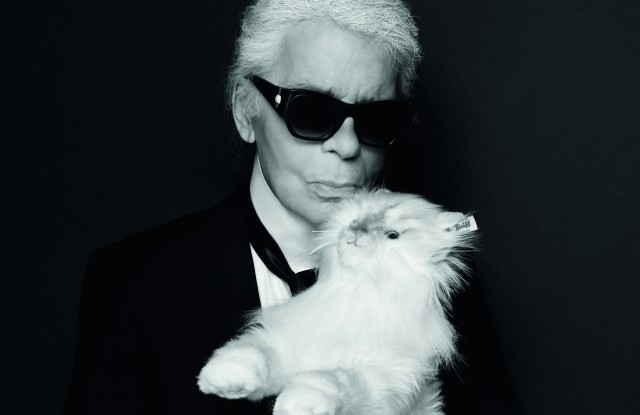 Karl Lagerfeld and the Choupette cuddly toy.