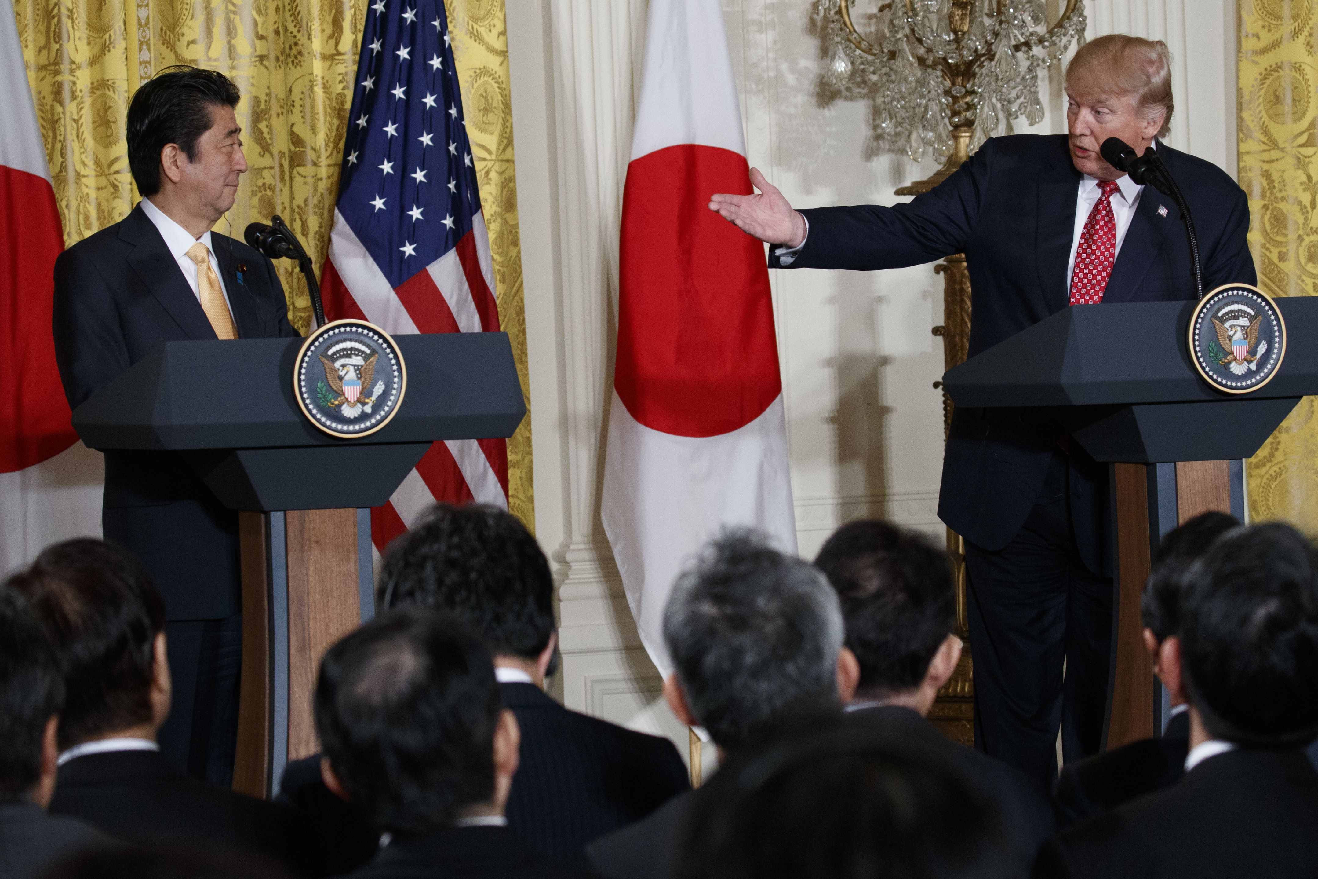 President Trump and Japanese Prime Minister Shinzo Abe hold a joint news conference at the White House.