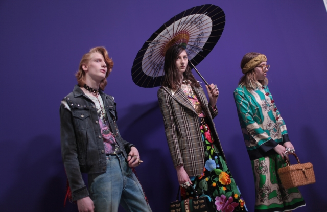 Backstage at Gucci's fall '17 dual-gender show.