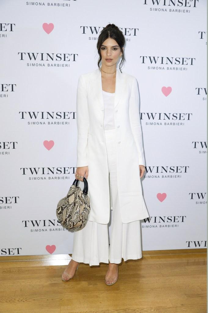 Emily Ratajkowski in Twinset Simona Barbieri's Milan store.